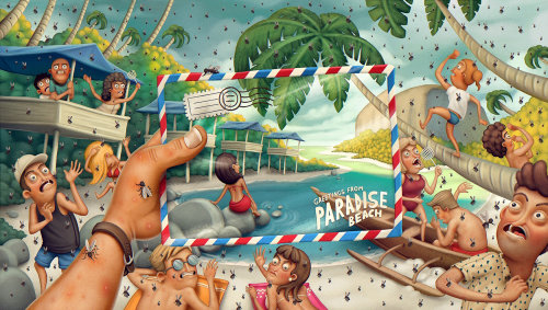 Paradise beach reality and expectations poster art