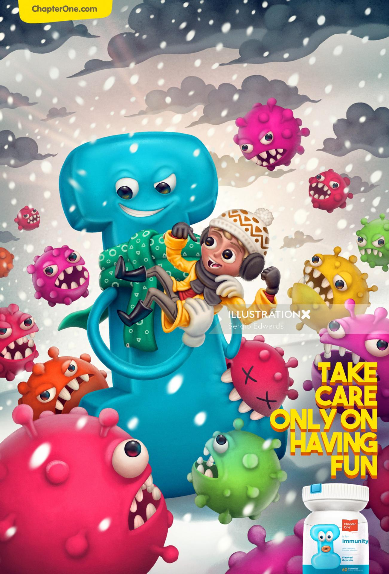 Advertising illustration of Vitamin Gummies for kids