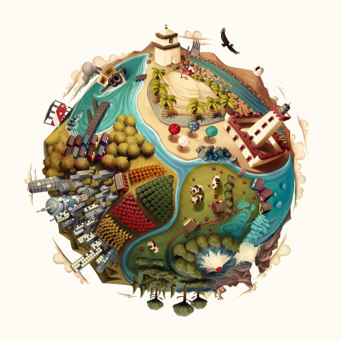 Chile map illustration for Inacap campaign