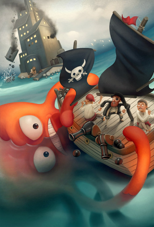 character design pirate ship and octopuss