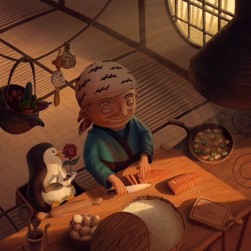 An old woman cooking animated cartoon design