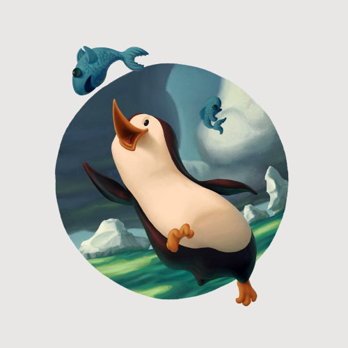 Digital art of Penguin bird