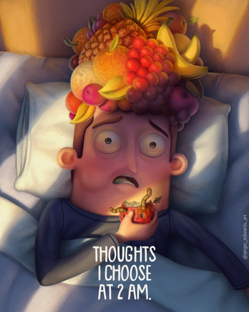 Man thoughts filled with fruits