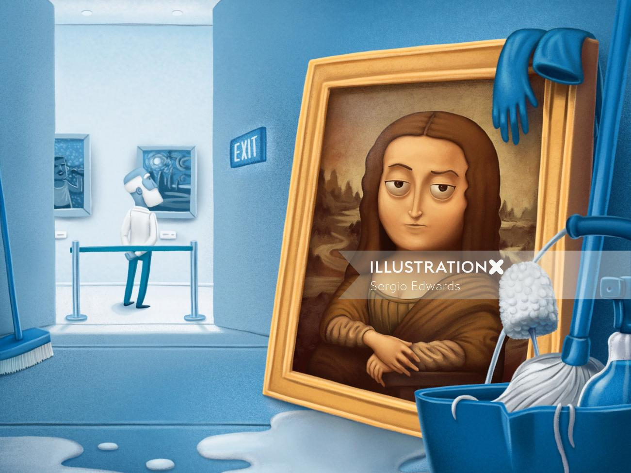 Face portrait of Mona Lisa