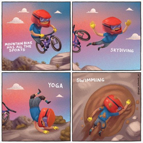 Comic strip of mountain bike sports