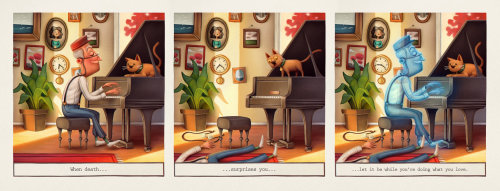 Character design dog on the piano