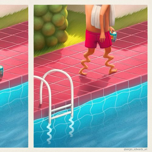 Cartoon man relaxing at swimming pool