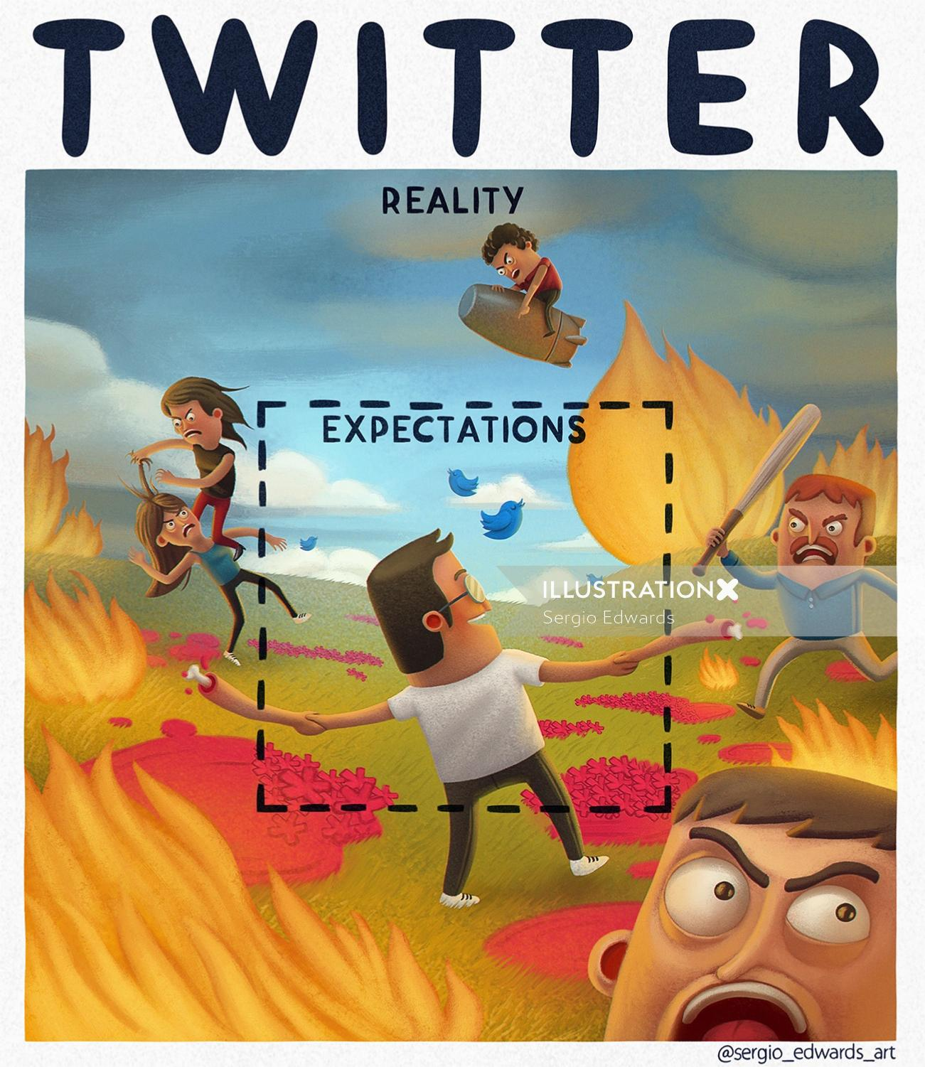 Humorous illustration on Twitter reality and expectations