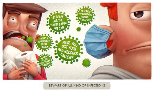 Cartoon character describing beware of all infections