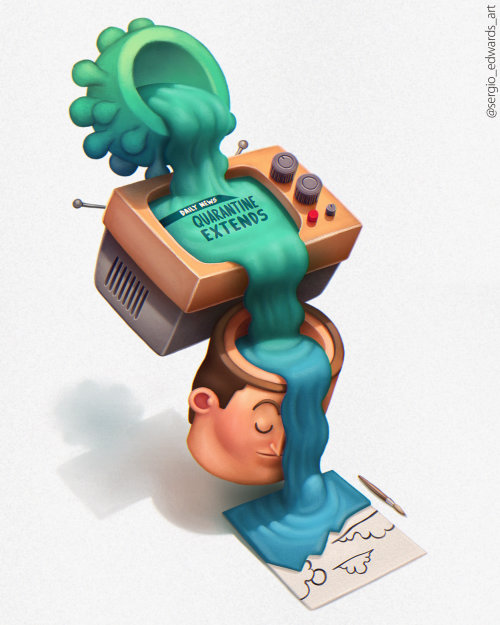 Corona Virus advertising illustration on Television by Sergio Edwards