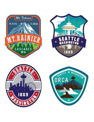 seattle, mountain, spaceneedle, orca, design, patch