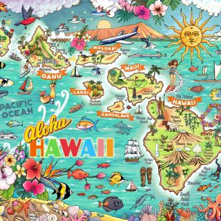Hawaii, map, ocean, puzzle