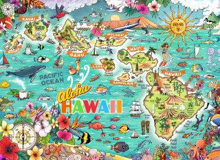 Hawaii, map, ocean, puzzle