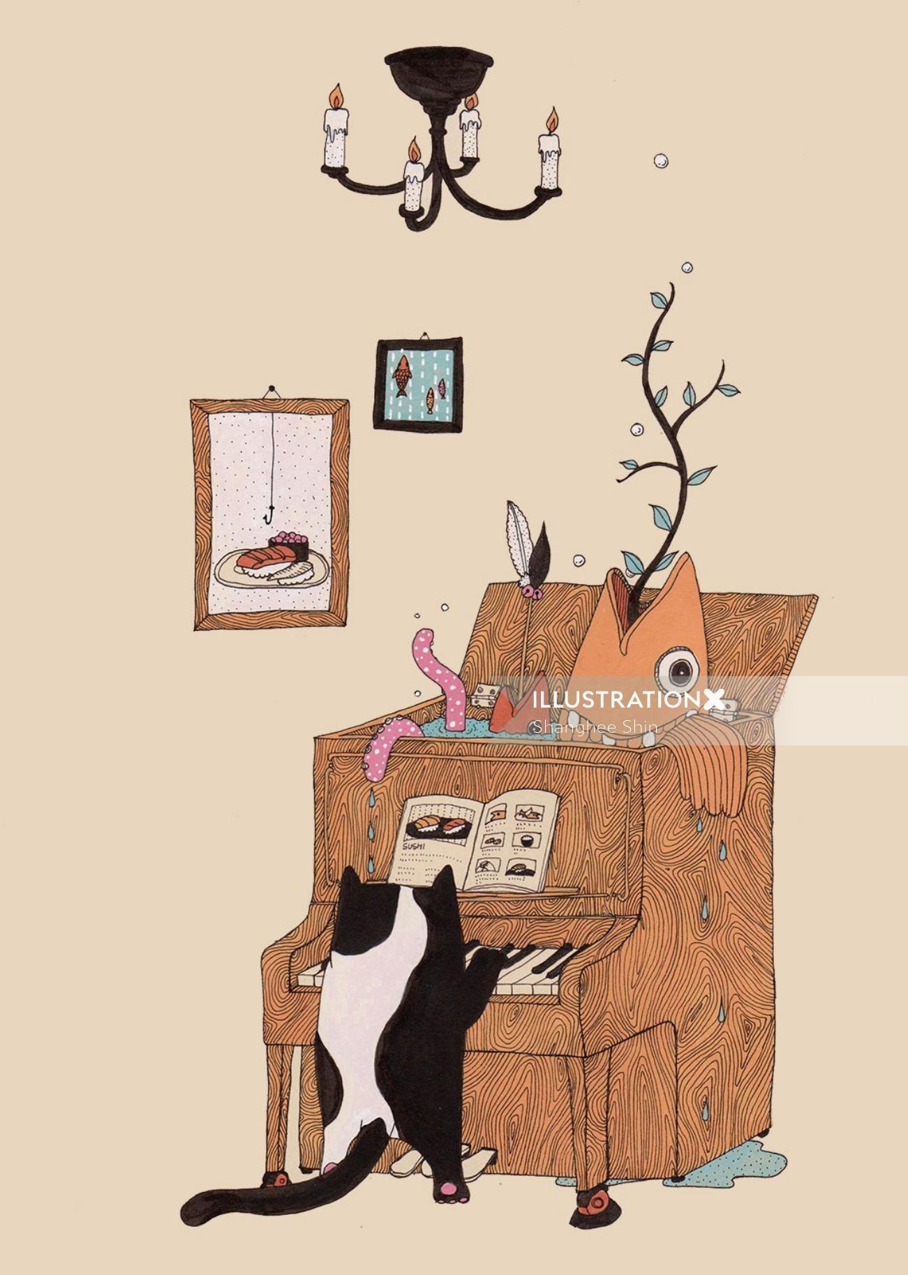 The Pianist animals graphic