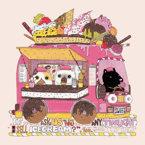 Illustration for ice cream wagon