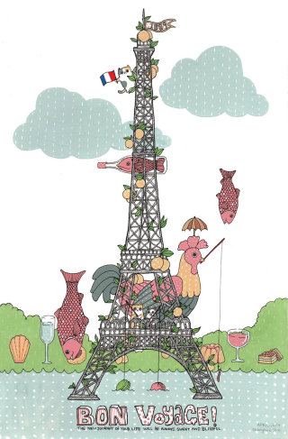 An illustration of pets on Eiffel tower
