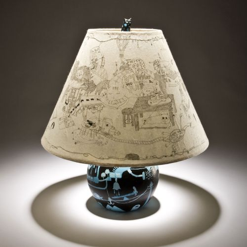 An illustration of shade and painted old lamp