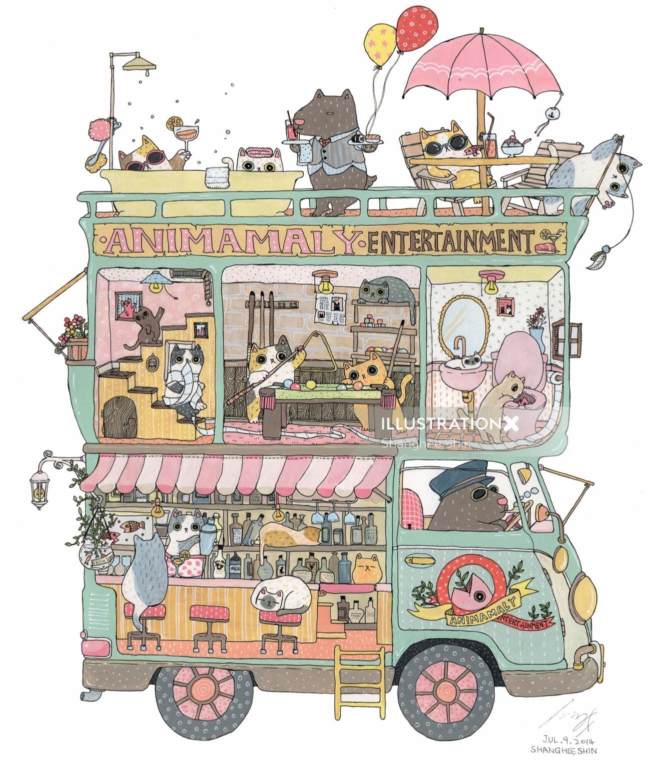 Dream car animals cartoon