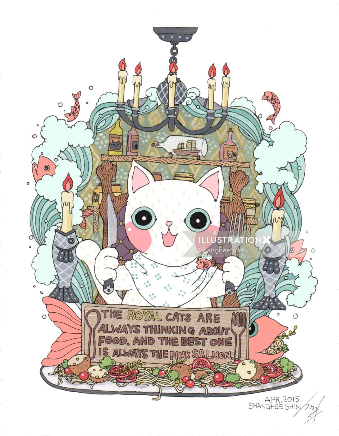 Animals cartoon the royal cat