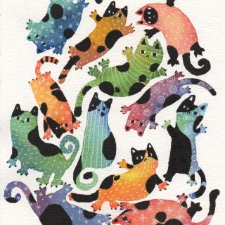 An illustration of colorful cats