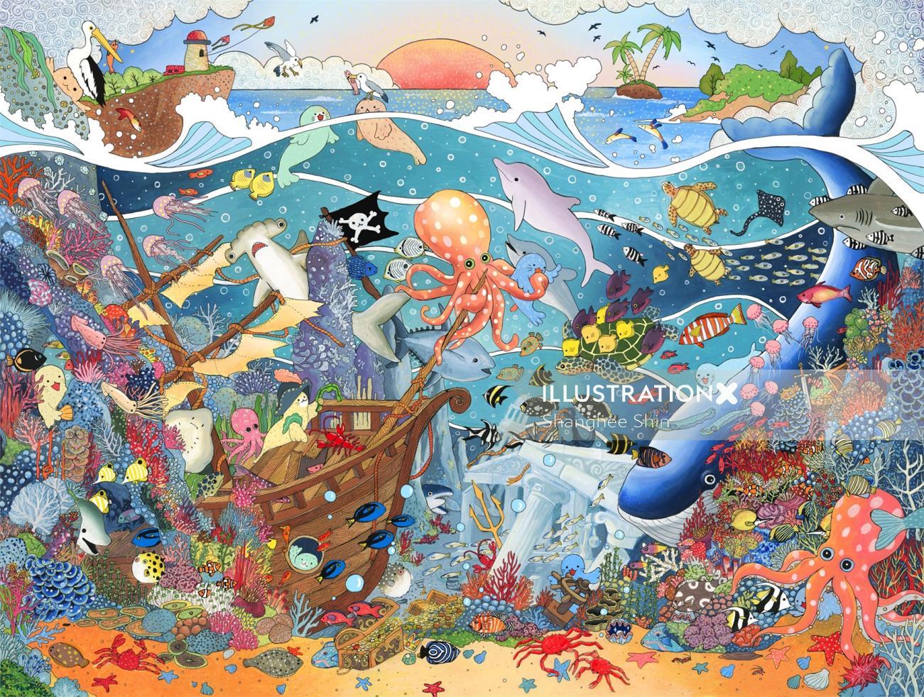 An illustration of underwater