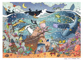 An illustration of underwater creatures