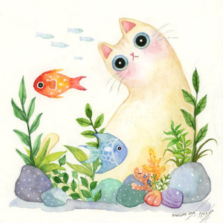 An illustration of fish and cat