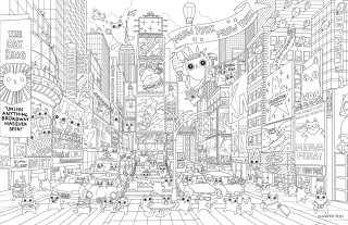 coloring, coloringbook, line, city, newyork, travel, detail. cat, timesquare