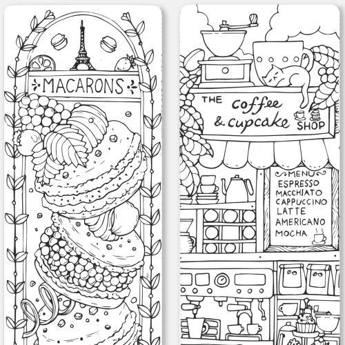 coloring, coloringbook, sweet, cake, cupcakes, macaroon. dessert, bookmark