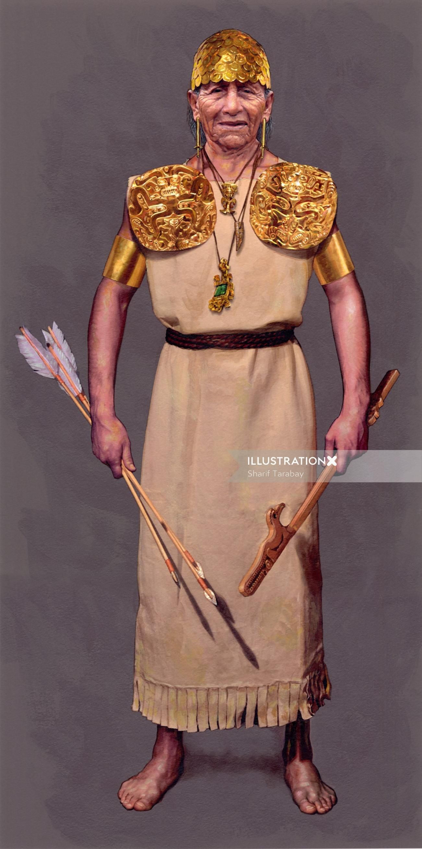 Portrait illustration of warrior