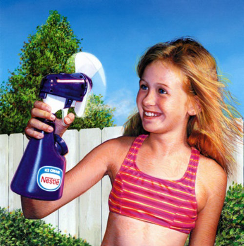 Portrait of cute girl for squeeze bottle Advertisement