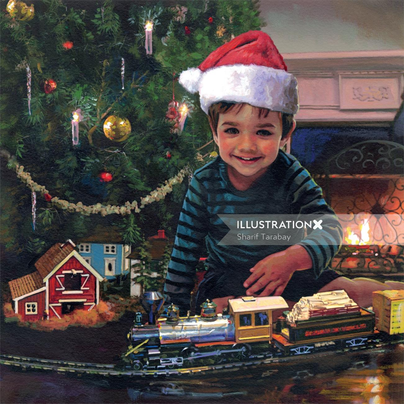 Portrait illustration of small boy