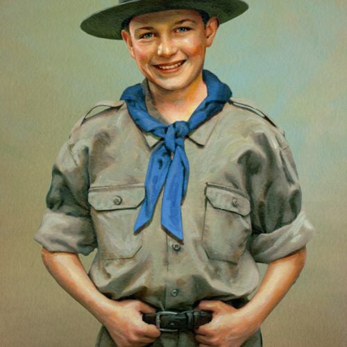 Boy Scout portrait illustration