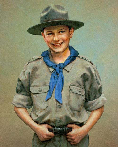 Ilustração de retrato de escoteiro