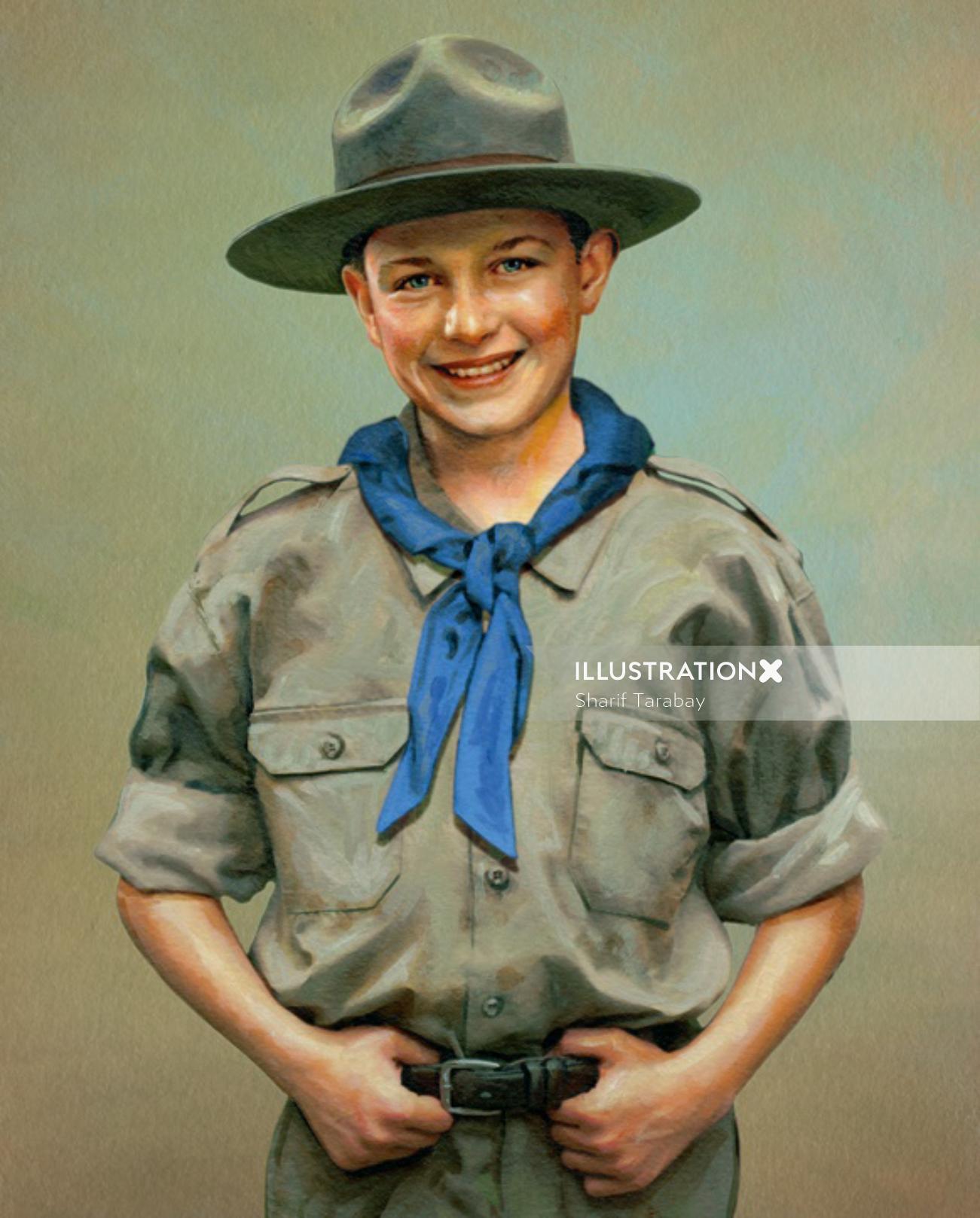 Boy Scout portrait illustration