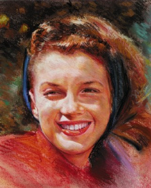 Watercolor portrait of smiling girl