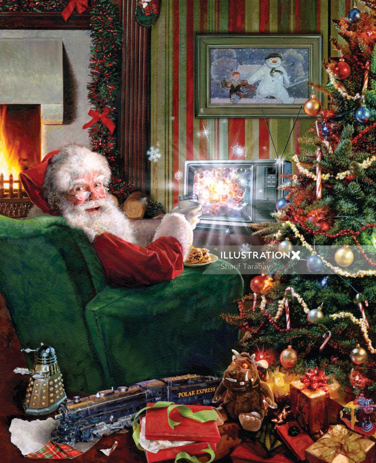People Santa in couch