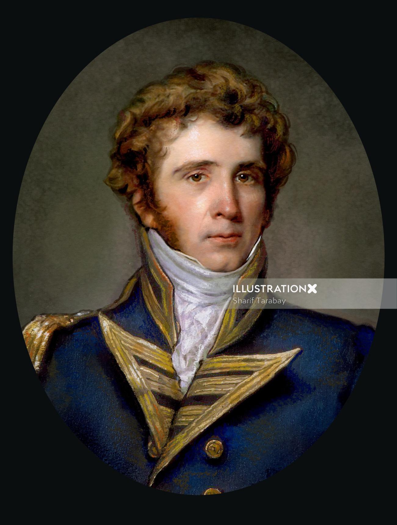 Portrait illustration of English man