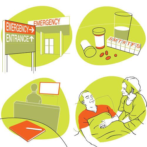 Line art of medical emergency