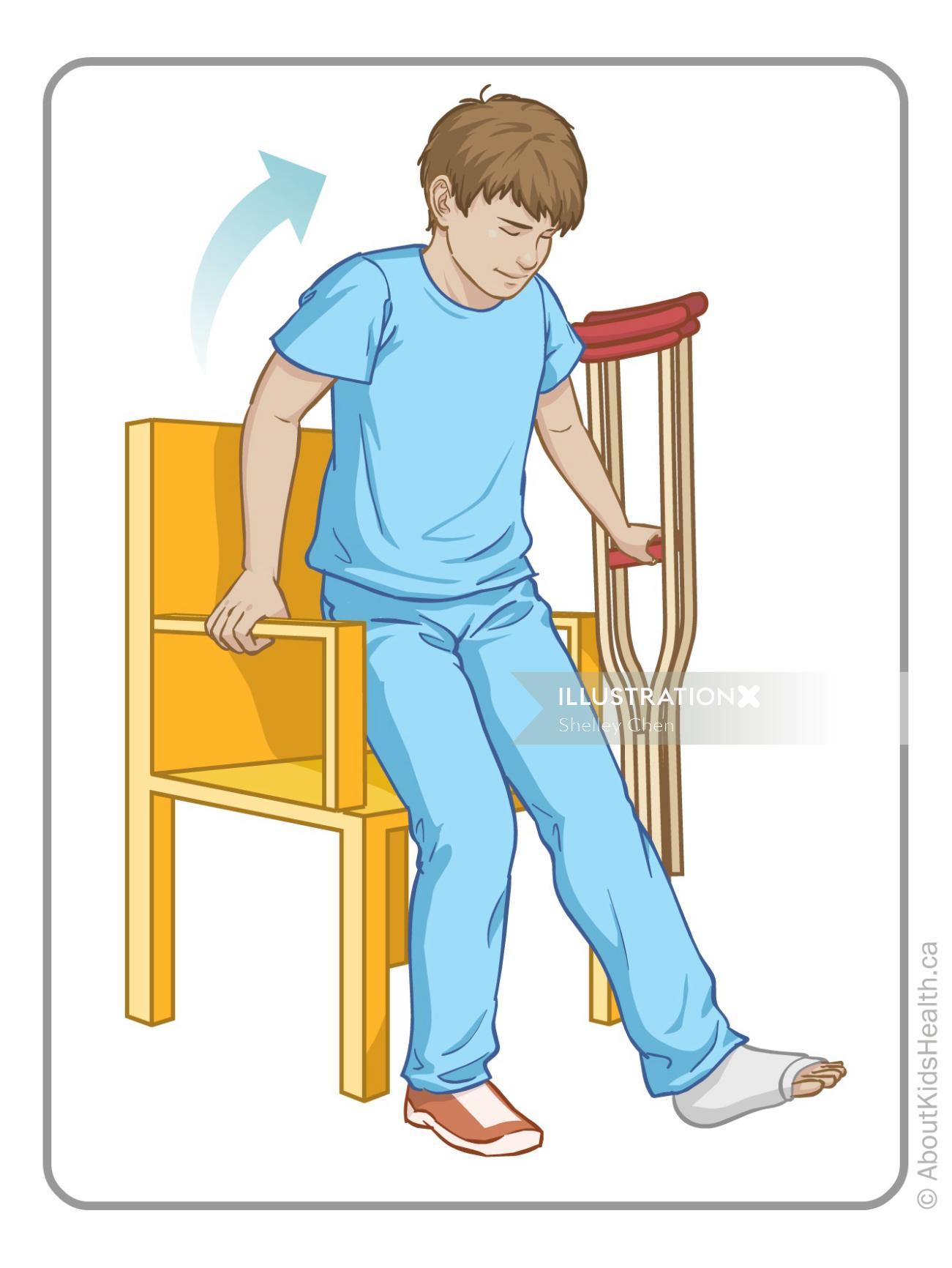 Medical graphic boy broken leg