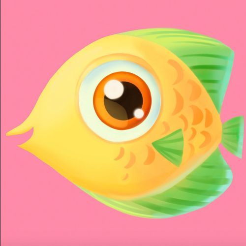 Character design of Fish for Coral Crush game icons