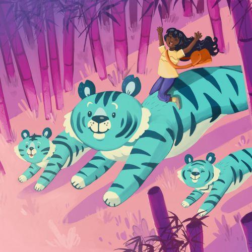 Cartoon animal Blue Tiger