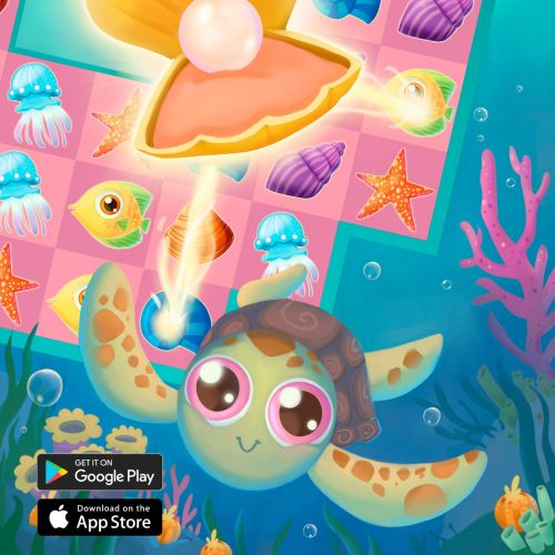 Coral Crush Match-3 game advertising illustration