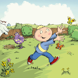 Illustration for a small boy chasing butterlies