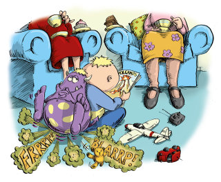 Cartoon illustration for a child playing with books