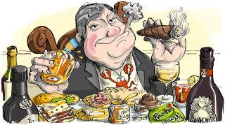 Mark Ian Price enjoying food illustration