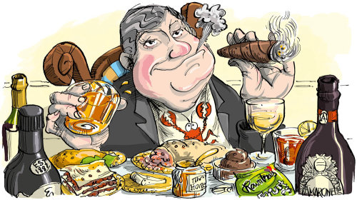 Mark Ian Price enjoying food illustration