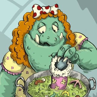 Cartoon female monster cooking in a pot