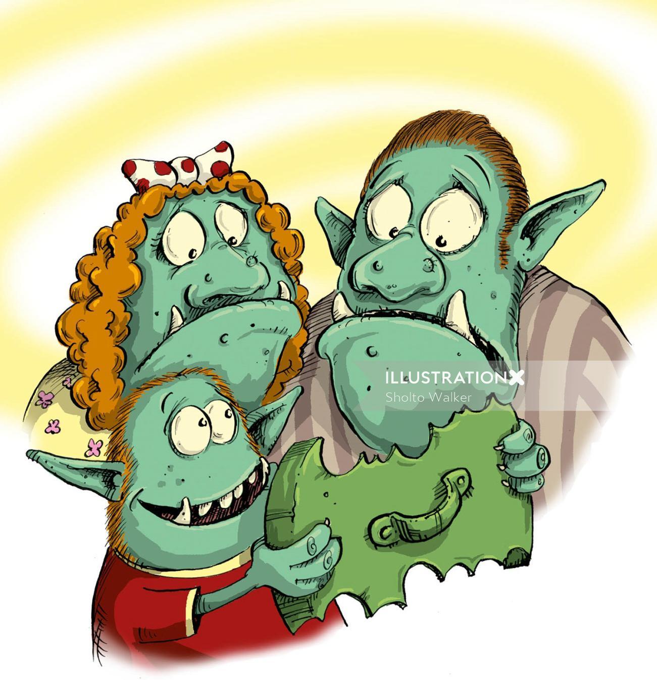 Monster family illustration