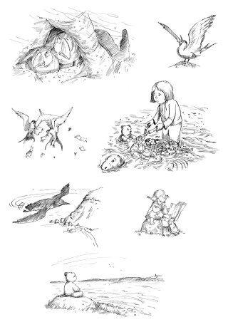 Black & white artwork of animals and children